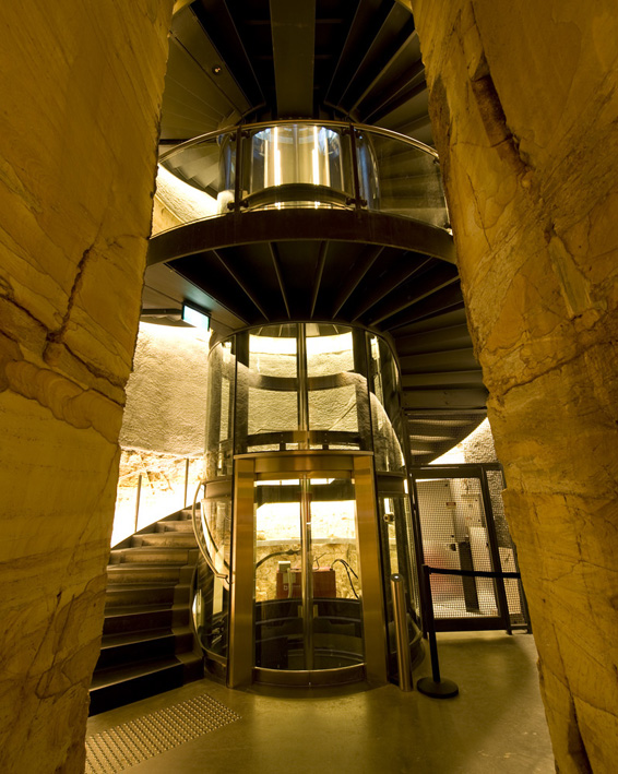 Cylindrical lift and spiral staircase