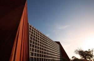MONA Concrete waffle facade and corten