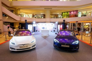 Pop-up displays of latest Tesla EVs Model S Update at Pacific Place