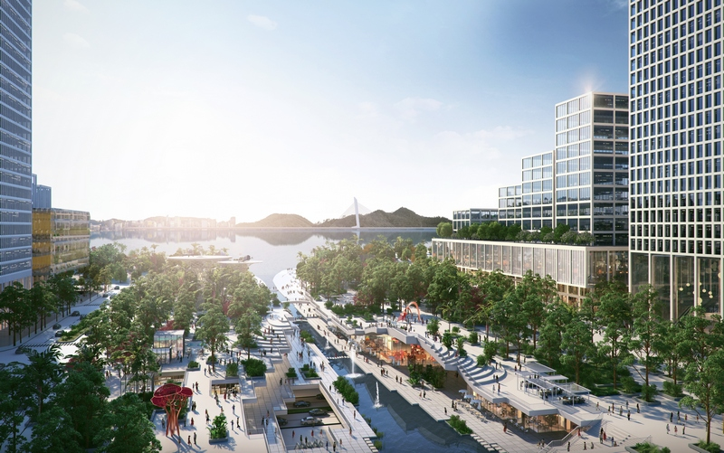 For the centrepiece, building Henning Larsen envisioned a building typology for Shenzhen suitable for its climate and for our ambition to preserve an open pedestrian ground floor urban realm.
