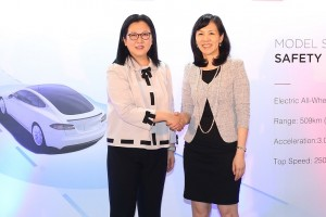 Fiona Shiu, General Manager of Pacific Place (right), together with Isabel Fan, Regional Director of Tesla Hong Kong and Macau, unveiled the pop-up of Model S Update
